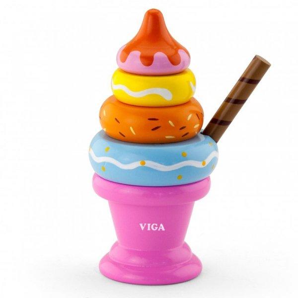 Drewniana Piramida Lody owocowe 5 elementów - Viga Toys