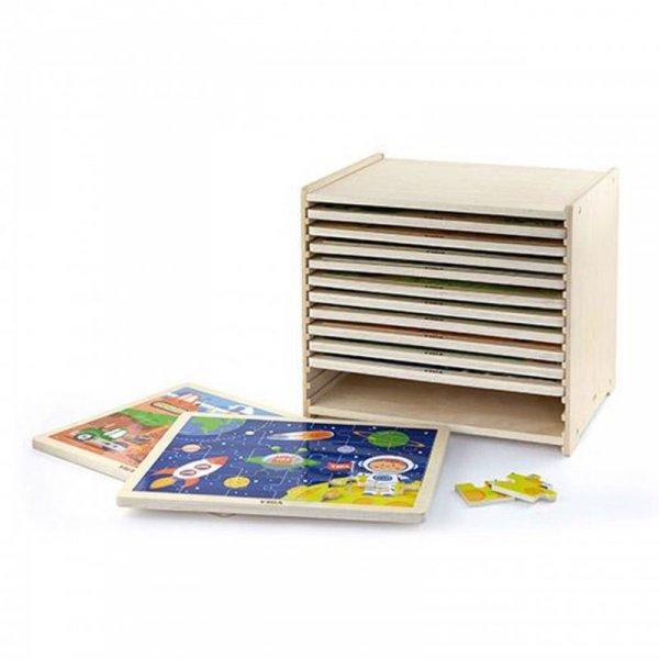 Puzzle drewniane 12 układanek po 24 puzzle na regale - Viga Toys