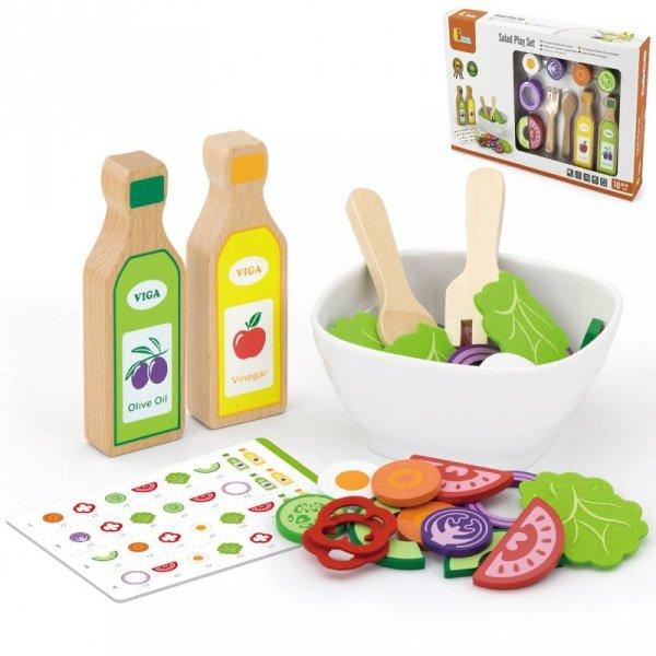 Zestaw Sałatkowy Warzywa Widelec Łyżka Sosy 36el - Viga Toys