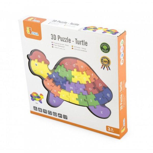 Drewniane Puzzle 3D - Edukacyjna Układanka Alfabet Cyferki - Viga Toys