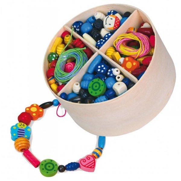 Zestaw Drewniane Koraliki do nawlekania 608 Elementów Pudełko - Viga Toys