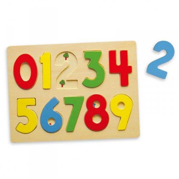 Puzzle Do Nauki Liczenia Drewniana Układanka Edukacyjna Cyferki 123 - Viga Toys