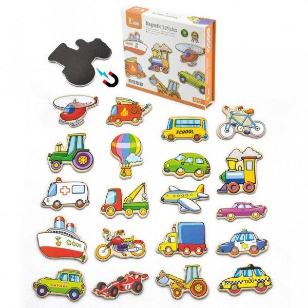 Zestaw Drewnianych magnesów - pojazdy - Viga Toys