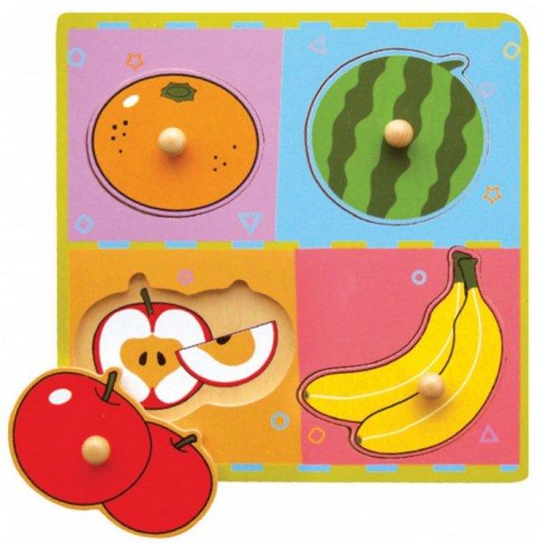Drewniane Puzzle Owoce Układanka Niespodzianka - Viga Toys