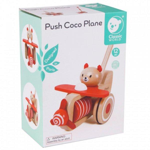 Drewniany Pchacz Samolot Miś Coco - Classic World