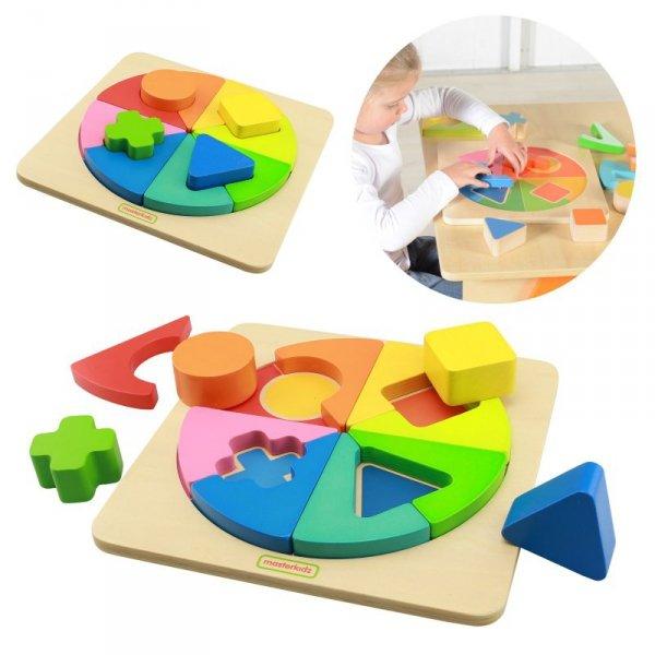 Kolorowa Drewniana Układanka Geometryczna Puzzle - Masterkidz