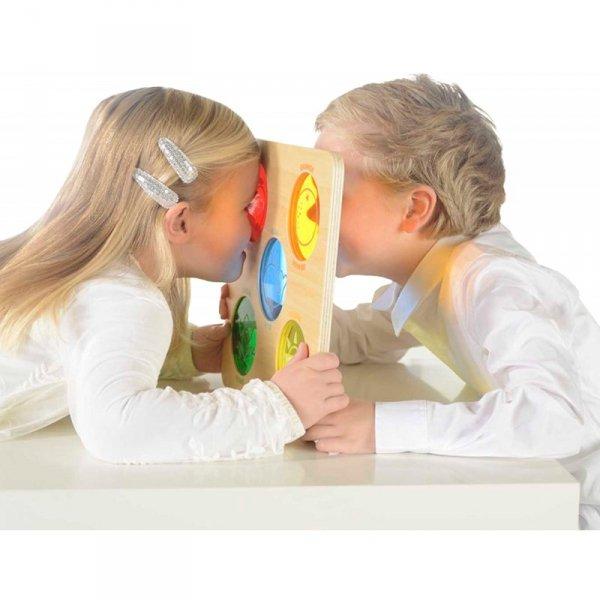 Kolorowe Szkiełka Drewniana Tablica Sensoryczna - Masterkidz