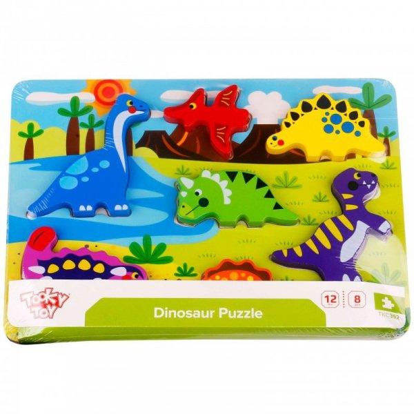 Grube Puzzle Dinozaury Dopasuj Kształty - TOOKY TOY