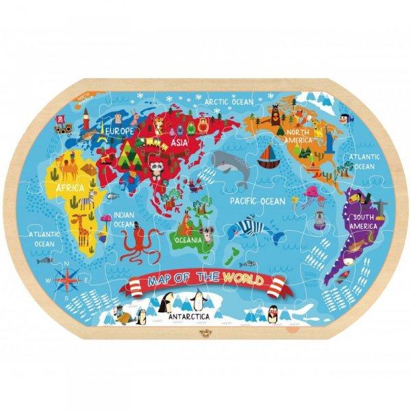 Puzzle Mapa Świata - TOOKY TOY