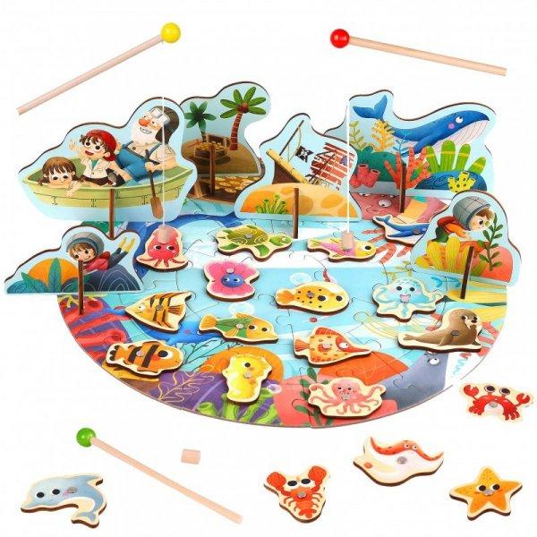 Gra Zręcznościowa Łowienie Rybek Wędkowanie Puzzle 2w1 - TOOKY TOY