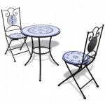 3-cz. zestaw mebli bistro z mozaiką niebiesko-białą