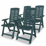 Rozkładane krzesła ogrodowe, 4 szt., plastikowe, zielone
