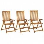 Rozkładane krzesła ogrodowe, 3 szt., lite drewno akacjowe