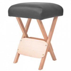 Składany stołek do masażu, grubość siedziska 12 cm, czarny