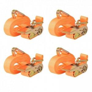 Taśmy mocujące z napinaczami, 4 szt, 0,4 T, 6mx25mm, pomarańcz