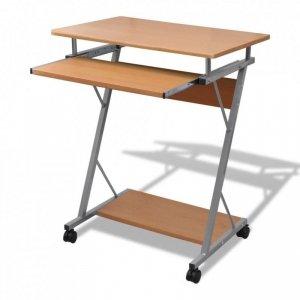 Biurko komputerowe z ruchomą podstawką na klawiaturę, brązowe