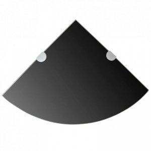 Półka narożna z chromowanymi wspornikami, czarne szkło, 25x25 cm