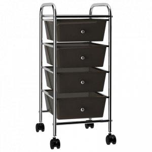 Wózek z 4 szufladami, czarny, plastikowy