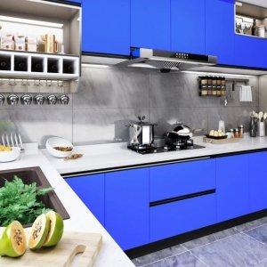 Okleina meblowa, niebieska, wysoki połysk, 500x90 cm, PVC