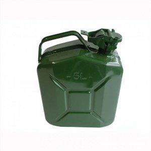 Kanister 5 L, zielony wykonany z metalu