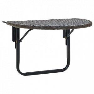 Stolik balkonowy, brązowy, 60x60x50 cm, rattan PE