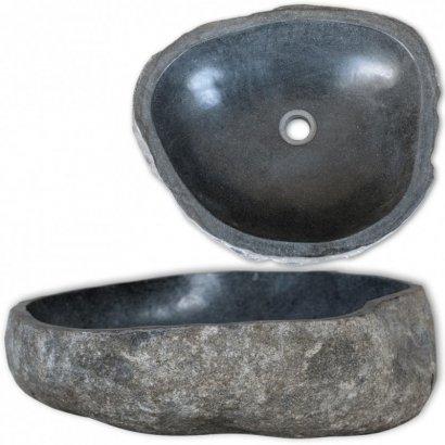 Umywalka z kamienia rzecznego, owalna, 46-52 cm