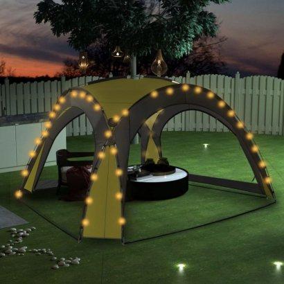 Namiot imprezowy z LED i 4 ściankami, 3,6x3,6x2,3 m, zielony
