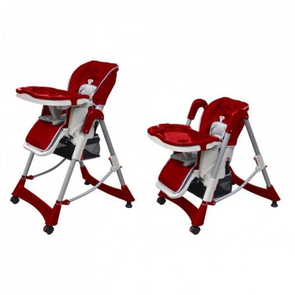 Luksusowe krzesełko do karmienia, regulacja wysokości, czerwone