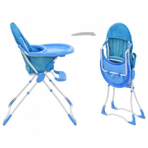 Krzesełko do karmienia dzieci, niebiesko-białe