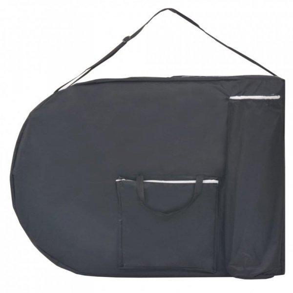 Składany stół do masażu z 2 wałkami, grubość 4 cm, czarny