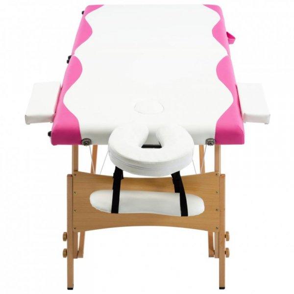 Składany stół do masażu, 2 strefy, drewniany, biało-różowy