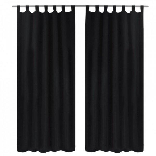 Czarne atłasowe zasłony z pętelkami 2 szt. 140 x 225 cm