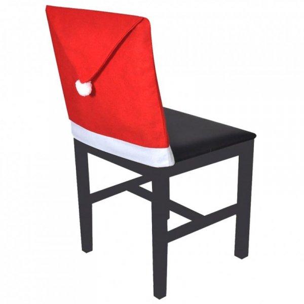 Pokrowce na oparcia krzeseł w kształcie czapki Mikołaja, 6 szt.