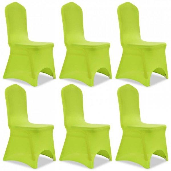Elastyczne pokrowce na krzesło zielone 6 szt.
