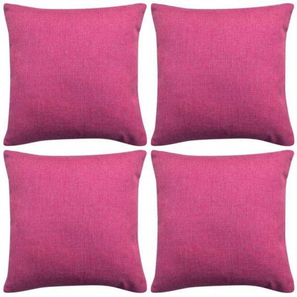 Poszewki na poduszki 4 szt. lniane, różowe 40x40 cm