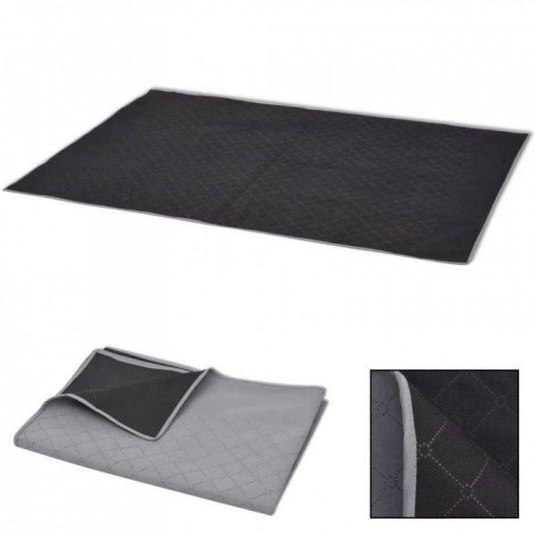 Koc piknikowy szary i czarny, 100x150 cm