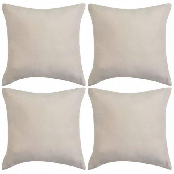Poszewki na poduszki 80x80 cm, zamszowe, 4 szt., beżowe