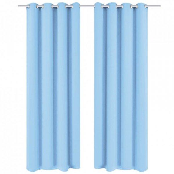 Zasłony zaciemniające z kółkami, 2 szt., 135x175 cm, turkusowe