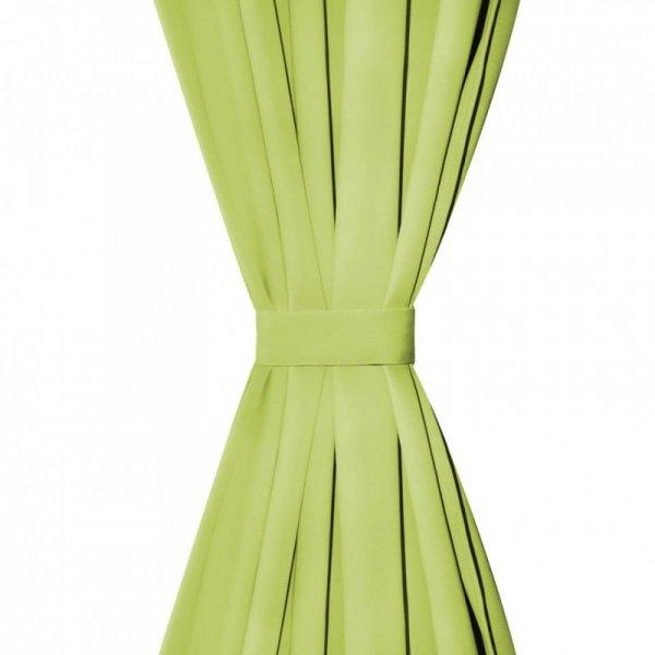 Zasłony z mikrosatyny, 2 szt., z pętelkami, 140x225 cm, zielone