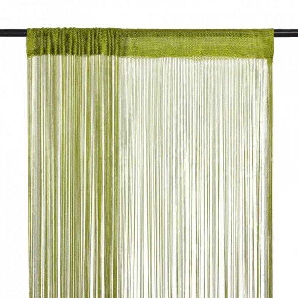 Zasłony sznurkowe, 2 sztuki, 100 x 250 cm, zielone