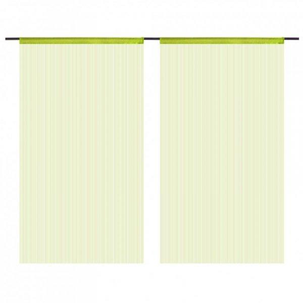 Zasłony sznurkowe, 2 sztuki, 140 x 250 cm, zielone