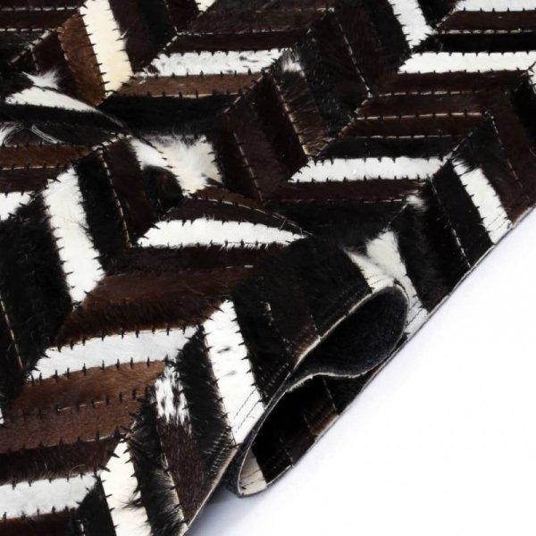 Dywan ze skóry, patchwork w jodełkę, 120x170 cm, czarno-biały