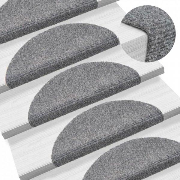Samoprzylepne nakładki na schody 15 szt, 54x16x4 cm, jasnoszare
