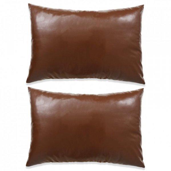 Poduszki z eko skóry, PU, 40x60 cm, brązowy
