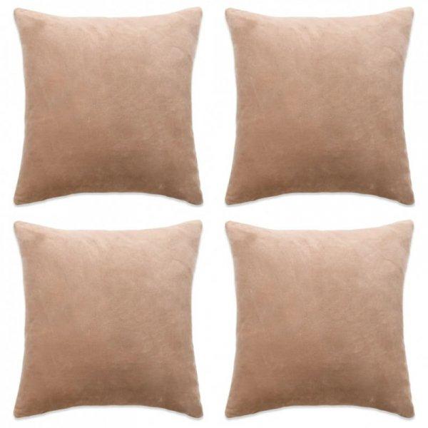 Poszewki na poduszki, 4 szt., welur, 50x50 cm, beżowy