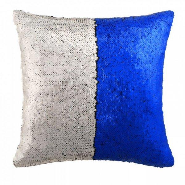 Zestaw 2 poduszek z cekinami 60x60 cm niebieski i srebrny