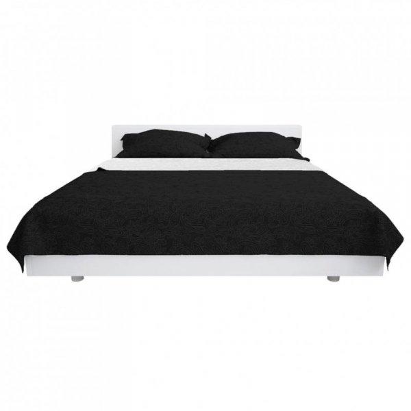 Dwustronna, pikowana narzuta na łóżko, 170x210 cm, czarno-biała