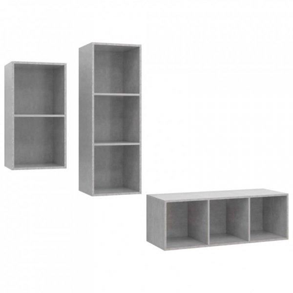 3-cz. zestaw szafek TV, szarość betonu, płyta wiórowa