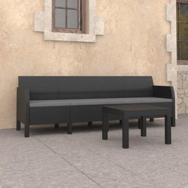 2-cz. zestaw wypoczynkowy do ogrodu, poduszki, PP, antracyt