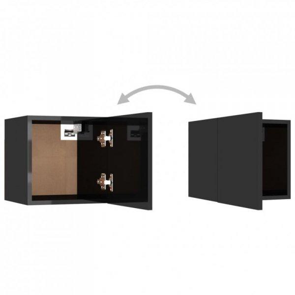 Szafki nocne, 2 szt., wysoki połysk, czarne, 30,5x30x30 cm